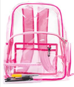 Pink clear plastic backpack with pencil case - heavy duty, s