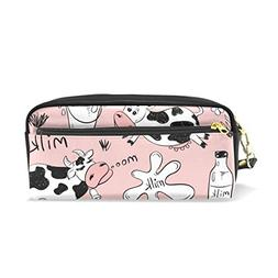ColourLife Pink Cows Leather Zipper Pencil Case Holder Pouch