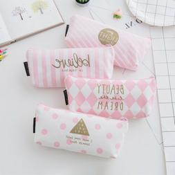 Pink Pencil Case Pen Box School Stationery Cosmetic Makeup P