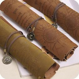 Pirate Treasure Map Roll Up PU Leather Pen Pencil Case Bags