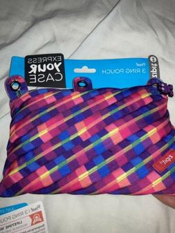 """Zipit""  ""Pixel"" 3 Ring Zipper Pouch, Rainbow Pixel"