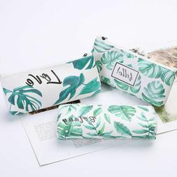 Plant Leaf Faux Leather Pencil Pen Case Cosmetic Makeup Bag