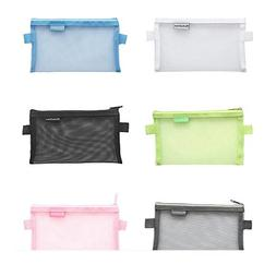 5 Pieces Portable Clear Mesh Net Pencil Pen Case Cosmetic Ma