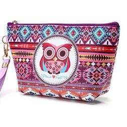 Ladies Makeup Pouch,POTO Women Girl Owl Portable Pencil Case