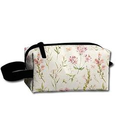 Travel Cosmetic Pouch Watercolor Natural Floral Twigs Flower