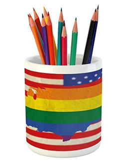 Ambesonne Pride Pencil Pen Holder, USA American Flag with Ra