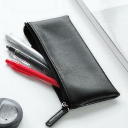 PU Leather Pencil Case Cosmetic Pouch Stationery Purse Box M