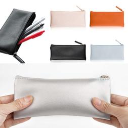 PU Leather Pencil Case Cosmetic Pouch Stationery Purse Organ
