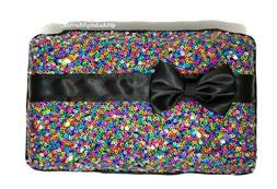 Rainbow sequin fabric Makeup holder organizer pencil box cas