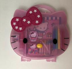 RARE NEW Hello Kitty Pink Plastic Case With Supplies Case Sa