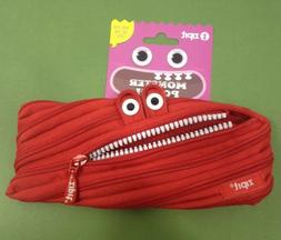 Zipit RED MONSTER POUCH w/ White Teeth~One LONG Zipper Penci