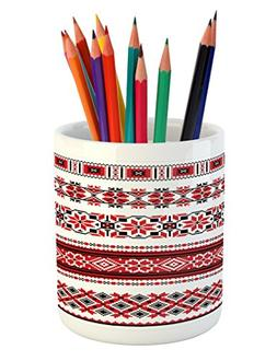 Ambesonne Red Pencil Pen Holder, Ukrainian Needlework Illust