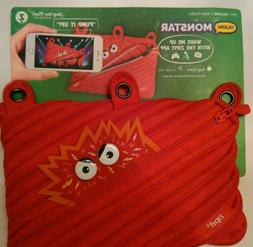 New Red ZIPIT TALKING MONSTAR PENCIL 3-Ring POUCH COSMETIC C