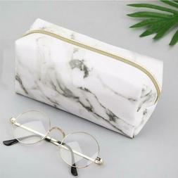 Retro Marble Pencil Pen Case Cosmetic Makeup Coin Pouch Zipp