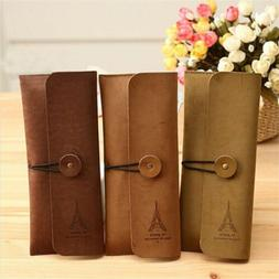 Retro Paris Suede Leather Pencil Pen Case Cosmetic Makeup Br