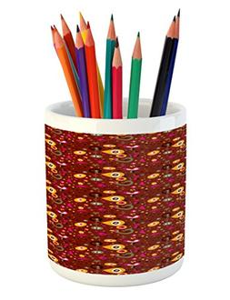Ambesonne Retro Pencil Pen Holder, Fifties Sixties Inspired