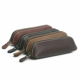 Retro Vintage Pencil Pen Case Cosmetic Pouch Leather Makeup