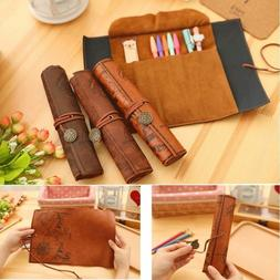 Retro Vintage Treasure Map Luxury Roll Leather Make Up PU Co