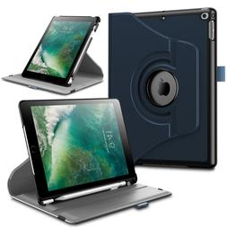 Rotating Case Cover w/Built-in Apple Pencil Holder For iPad