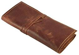 Rustic Genuine Leather Pencil Roll Pen and Case Dark Brown