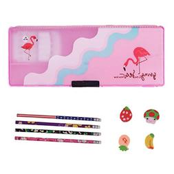 School Kids girl Pink Plastic Pencil Box Case With Pencils a