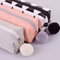 School Stationery Canvas Pouch Cosmetic Bag Makeup Box Penci