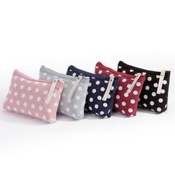 School Students Pencil Case Round Dot Womens Makeup Small Ba