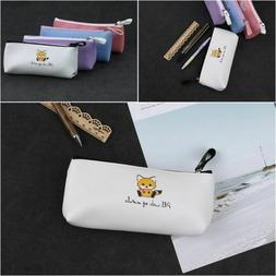 School Supplies Storage Cat Pencil Case Pen Bag PU Leather B
