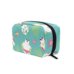 ALAZA Seamless Background With Polar Bears Makeup Case Bag A