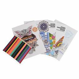 Set in Carrying Case- 5 Stress Coloring Book Pencils Sharpen