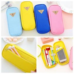 Simple Multifunction Canvas Pencil Case Storage Pen Bag Zipp