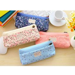 Small Flower Classic Pencil Pen Case Cosmetic Makeup Bag Sto