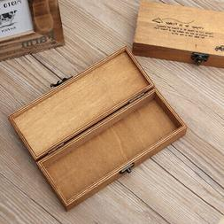 Small Wooden Box Storage Wood Pen Pencil Case Holder Coin St