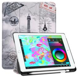 Smart Auto Wake/Sleep Case Cover with Pencil Holder For iPad