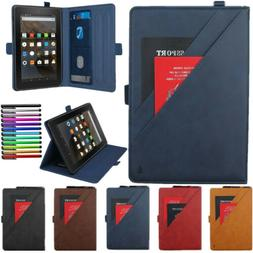 Smart Leather Cover Case with Pencil Holder For Amazon Kindl