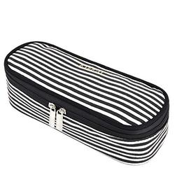 JEMIA - Canvas Pencil Case with Black and White Stripes, 2 S