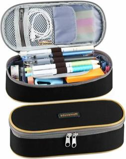 Student's Canvas PU Pen Bag Pencil Case Cosmetic Box Trave