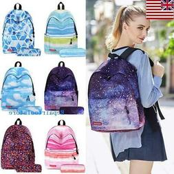 Student Kids School Bag Canvas Backpack and Pencil Case Set