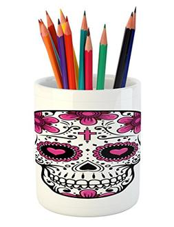 Ambesonne Sugar Skull Pencil Pen Holder, Flowers and Hearts