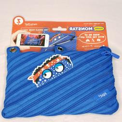 ZIPIT Talking Monstar 3-Ring Pencil Case Blue New Back to Sc