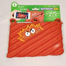 ZIPIT Talking Monstar 3-Ring Pencil Case Red New Back to Sch