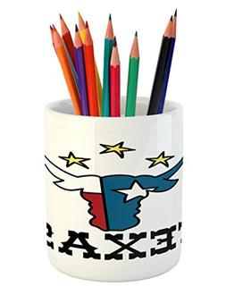 Ambesonne Texas Star Pencil Pen Holder, Doodle Style Buffalo