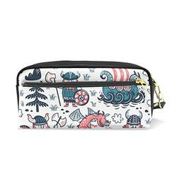 ColourLife Three Vikings Dragon Ship PU Leather Pencil Case