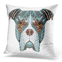 TOMKEYS Throw Pillow Cover Black Abstract Boxer Dog Head Zen