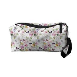Travel Toiletry Bag Watercolor Pink Floral Flowers Peony Ros