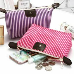 Travel Fabric Stripe Cosmetic Makeup Bag Pencil Case Storage
