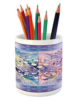 Ambesonne Unicorn Pencil Pen Holder, Two Myhtical Horses Fac
