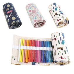 US 36/48/72 Holes Pouch Wrap Roll Up Pencil Bag Pen Canvas H