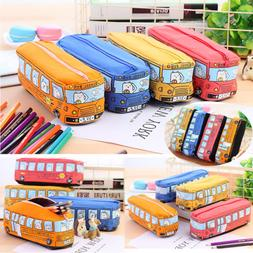 US Kawaii Bus Pencil Case Canvas Pencil Box Pen Bags School