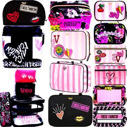 VICTORIA'S SECRET PINK STRIPED COSMETIC BAGS BLING VS PATCH